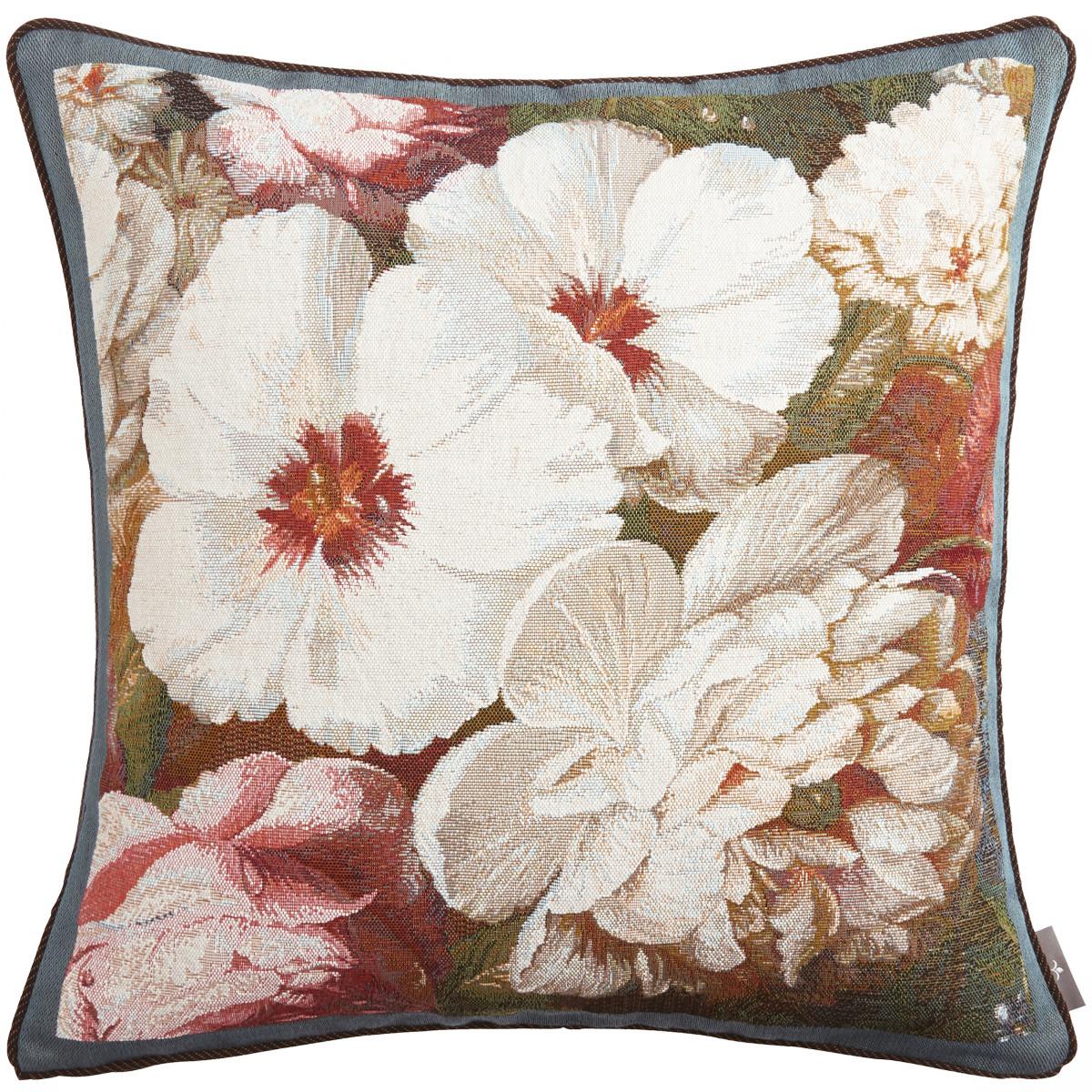 Coussin tapisserie hibiscus pivoine Bleu 50 x 50
