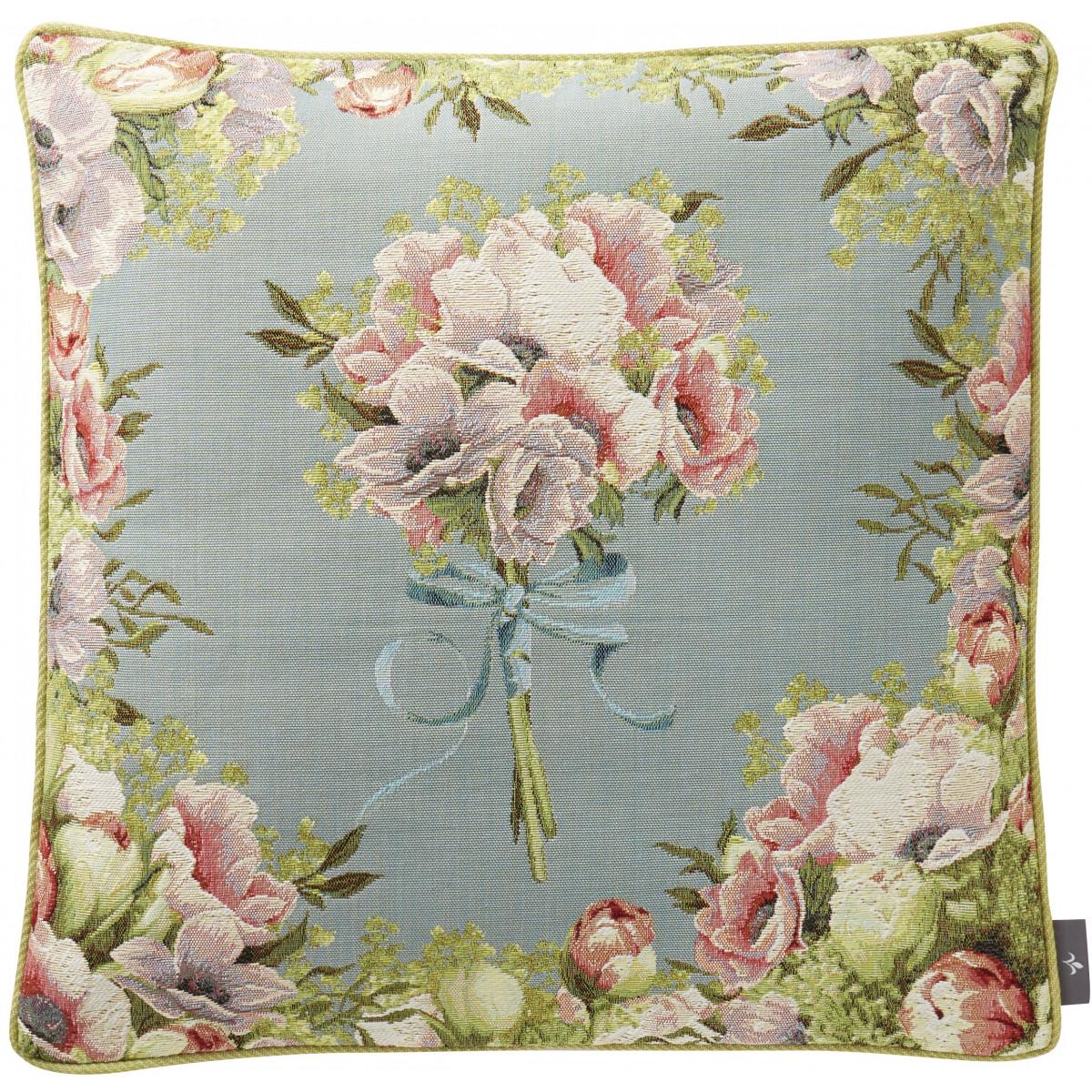 Coussin bouquet tissé Bleu 50 x 50