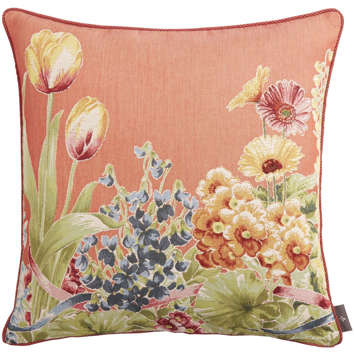 Coussin tapisserie jardin de fleurs Orange 50 x 50