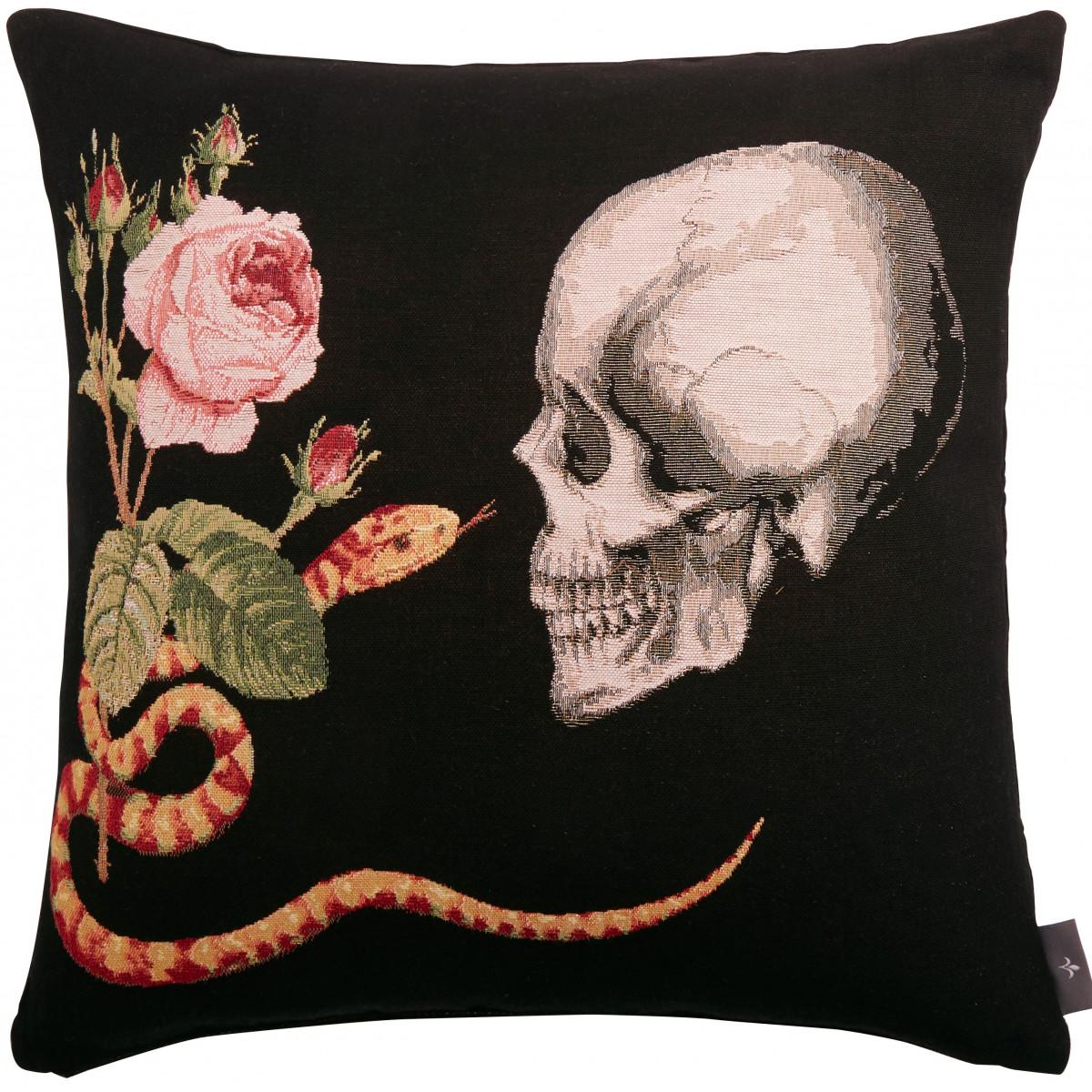Coussin tapisserie crâne roses serpent Noir  50 x 50