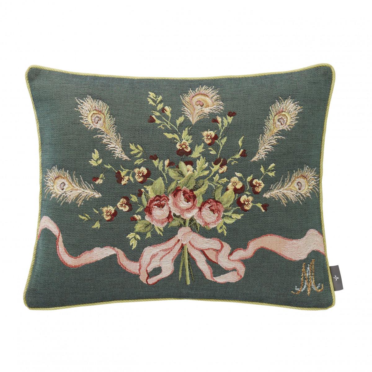 Coussin marie Antoinette tissé Vert 40 x 50