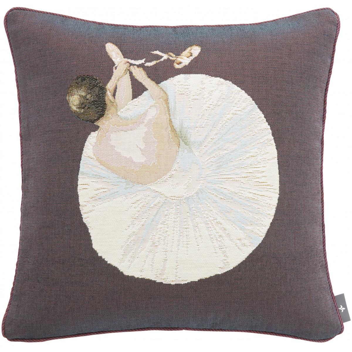 Coussin tapisserie danseuse pointe Violet 50 x 50
