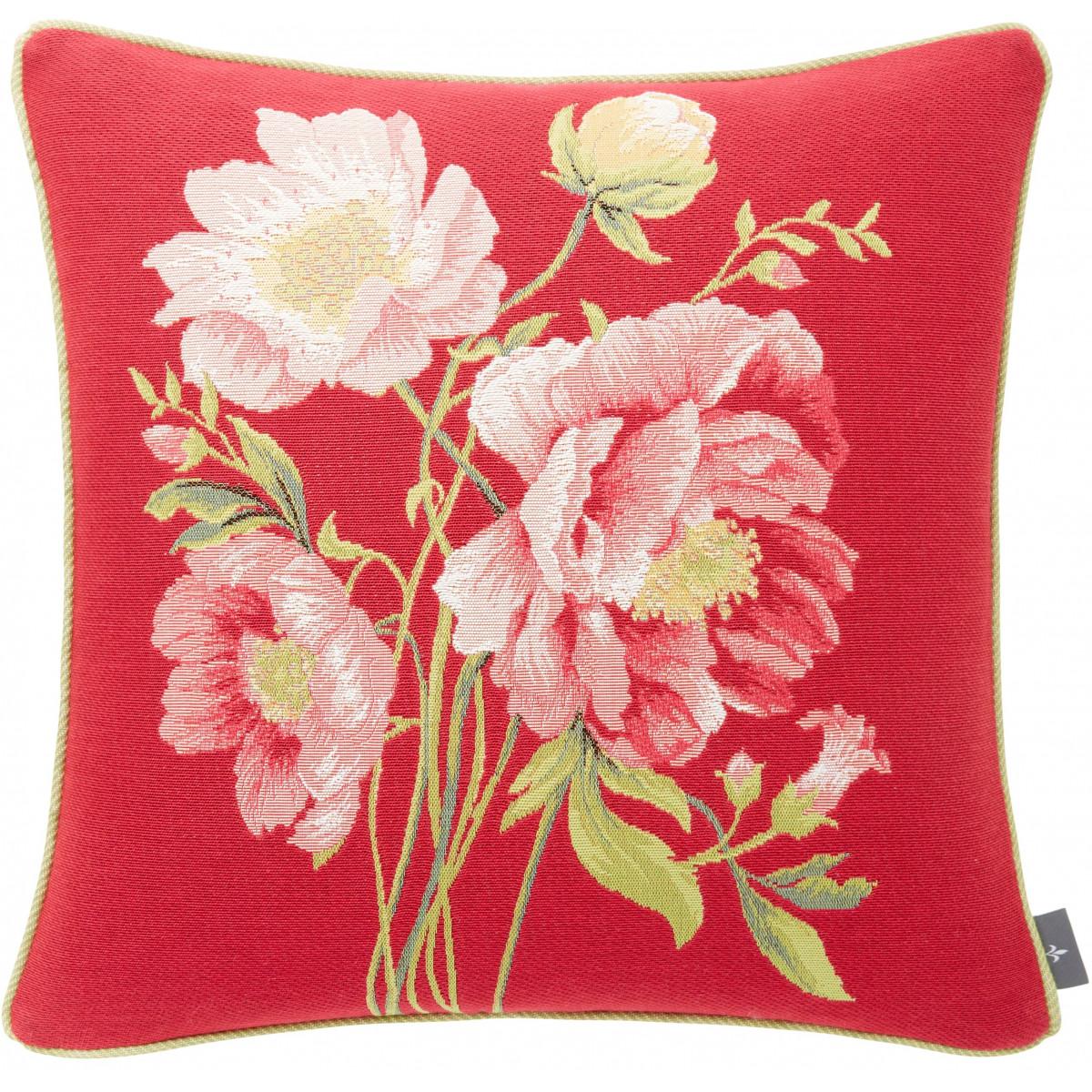 Coussin tapisserie bouquet pivoines Rose 50 x 50