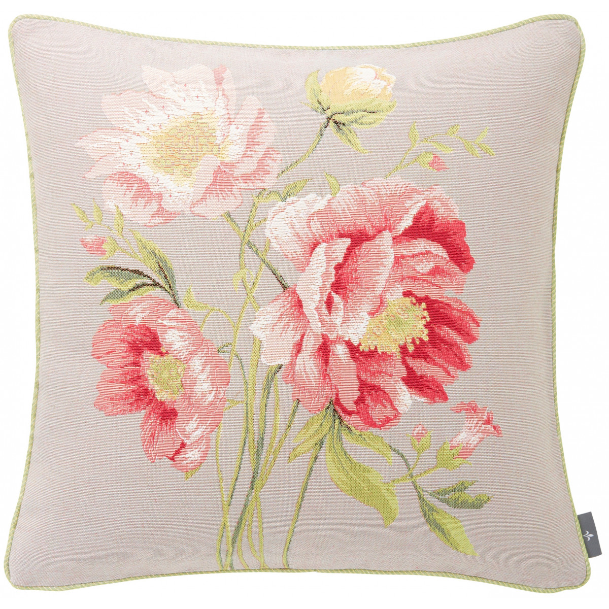 Coussin tapisserie bouquet pivoines Gris 50 x 50