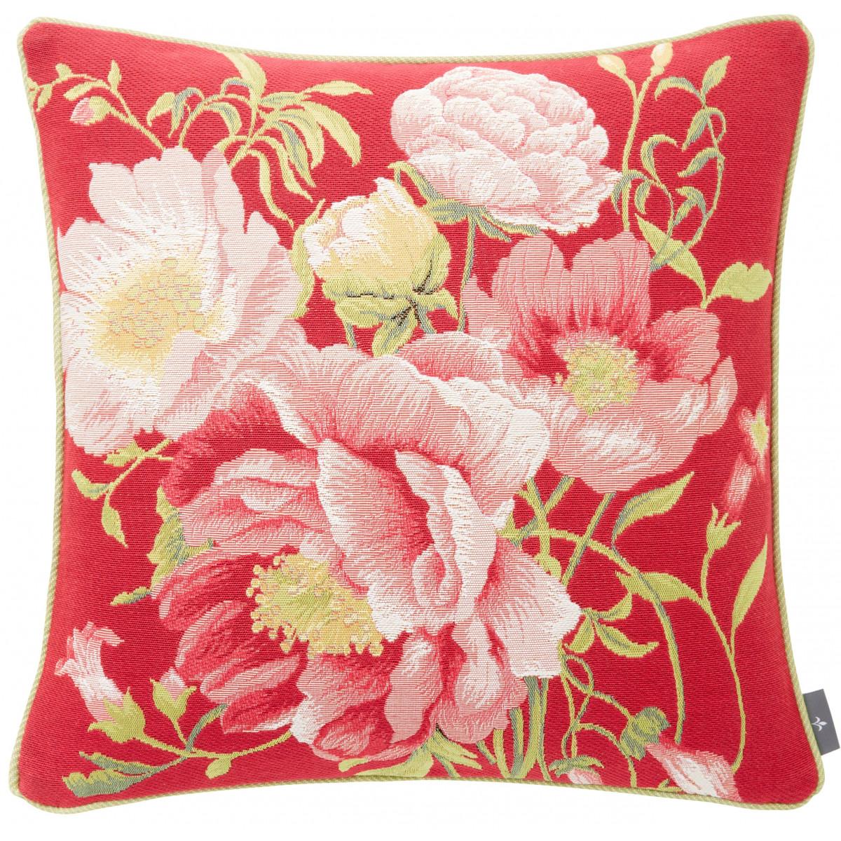 Coussin tapisserie multi pivoines Rose 50 x 50