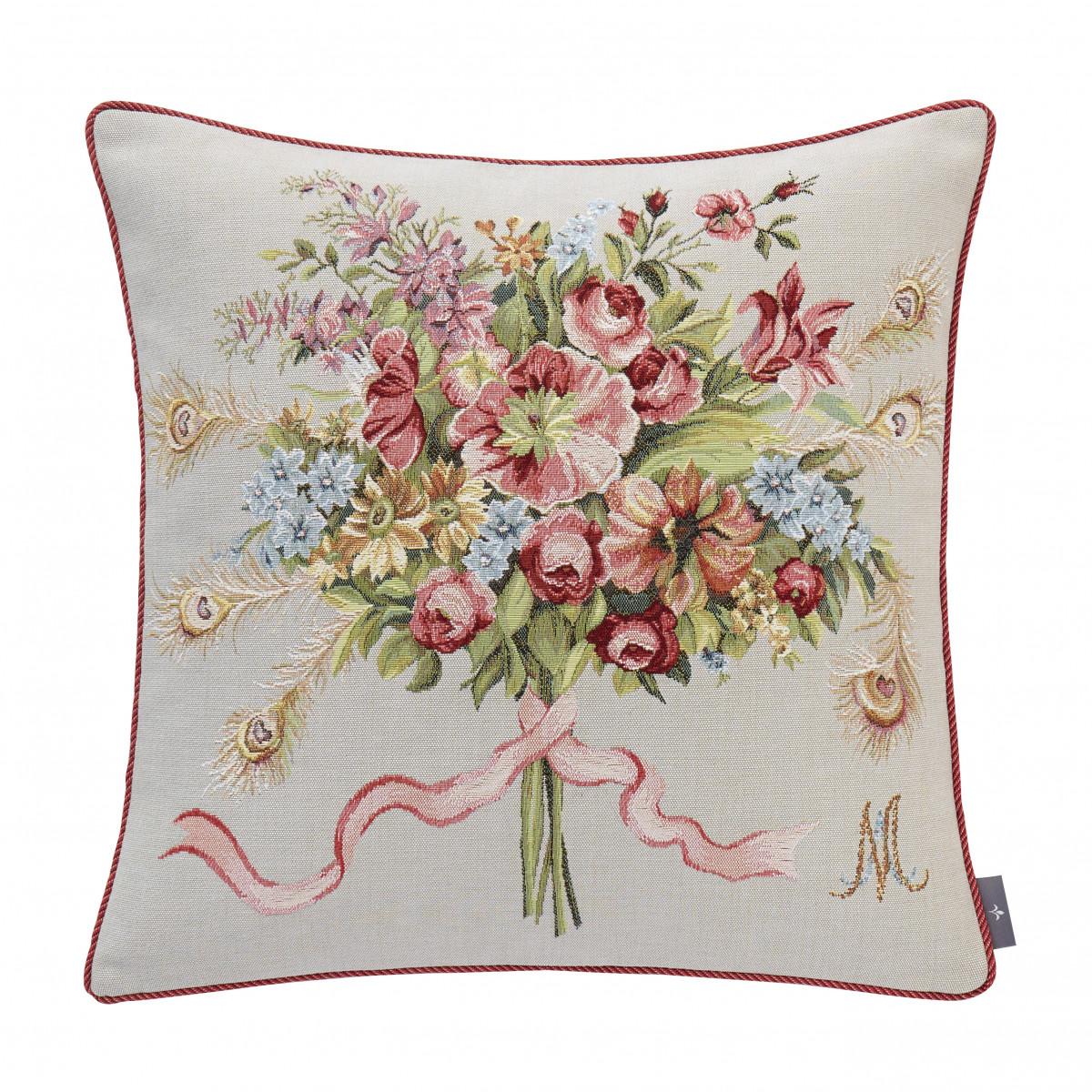 Coussin marie Antoinette tissé Gris 50 x 50