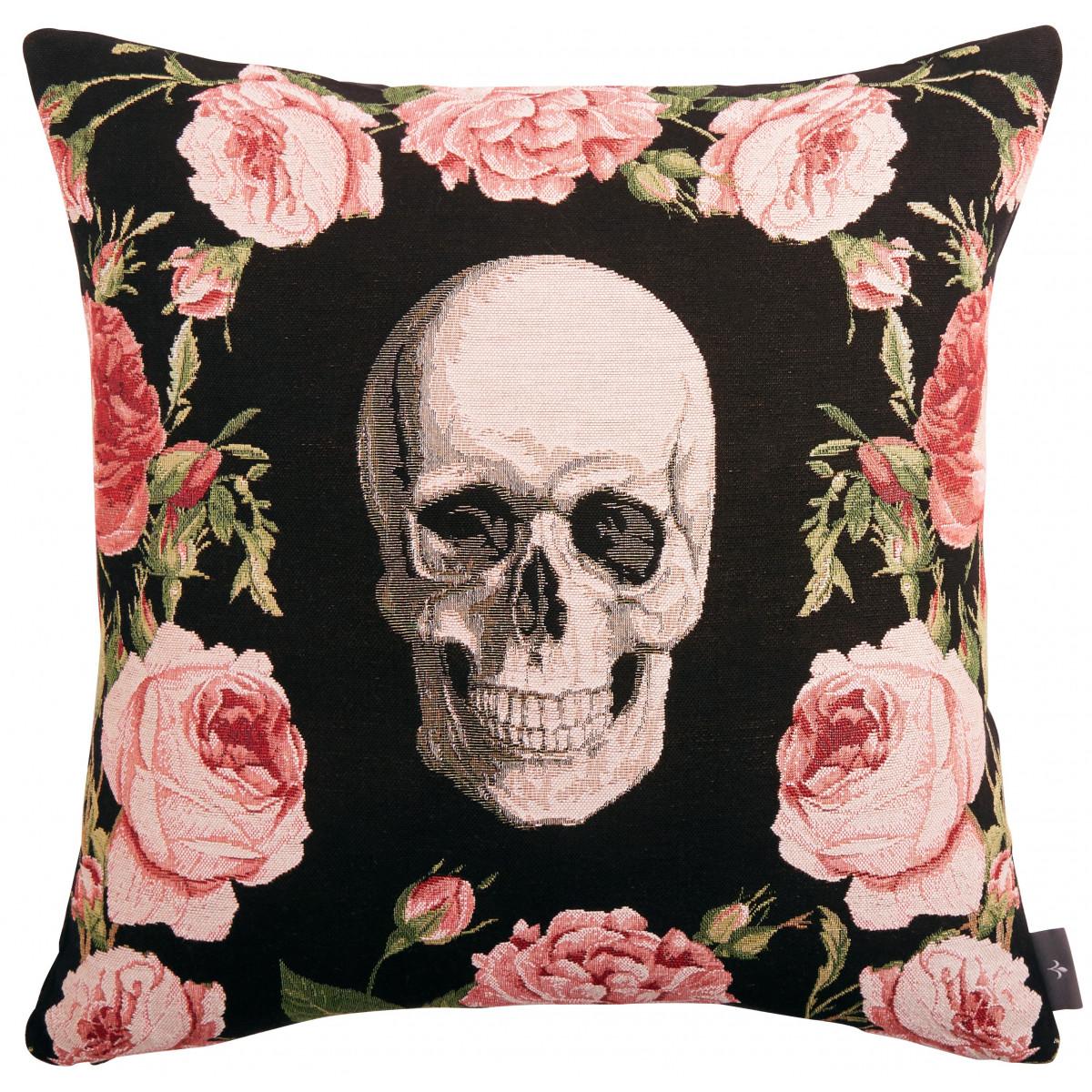 Coussin tapisserie crâne et roses Noir 50 x 50