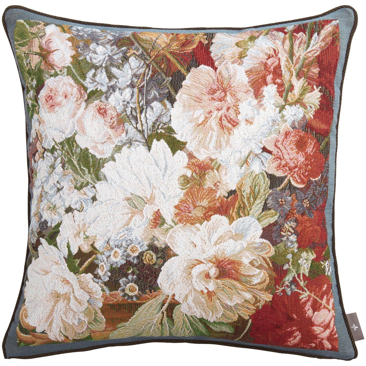 Coussin tapisserie bouquet classique Bleu   50 x 50