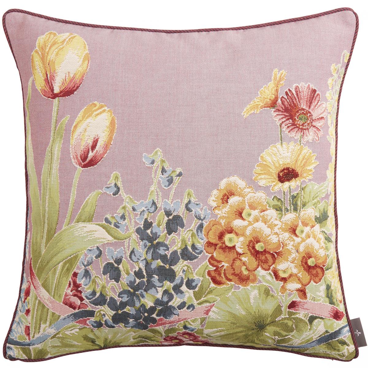 Coussin tapisserie jardin de fleurs Violet 50 x 50