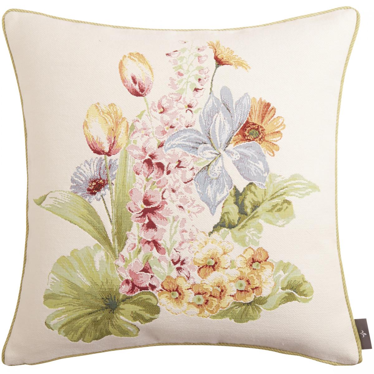 Coussin tapisserie bouquet de fleurs Blanc  50 x 50