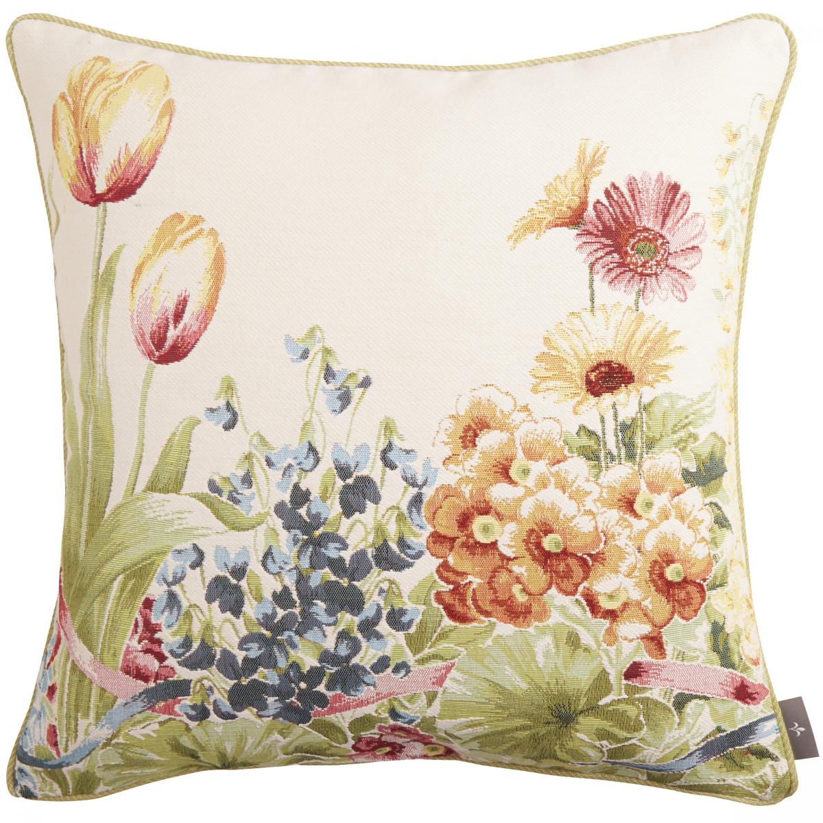 Coussin tapisserie jardin de fleurs Blanc 50 x 50