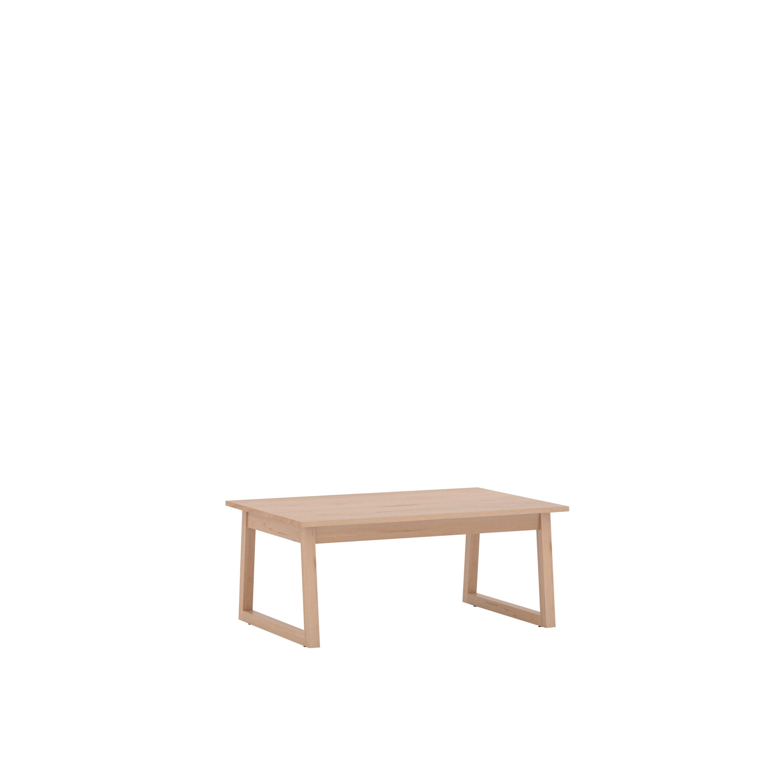 Grande table basse en hêtre avec pieds traineaux, vernie
