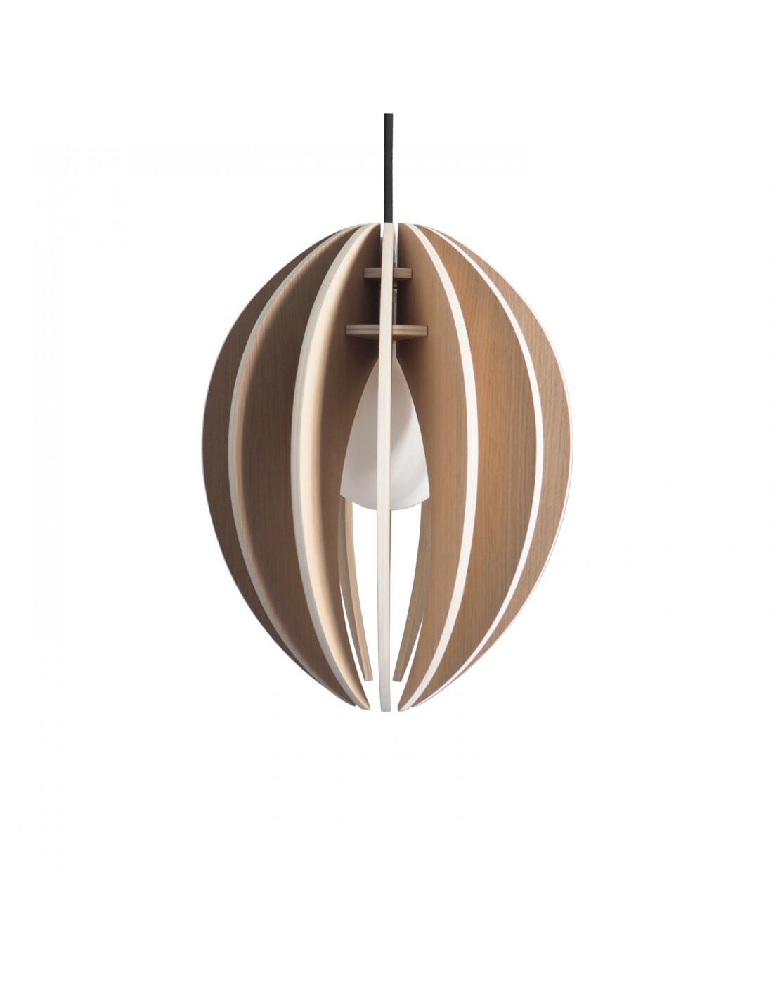 Lampe suspension bois et béton chêne naturel cordon noir