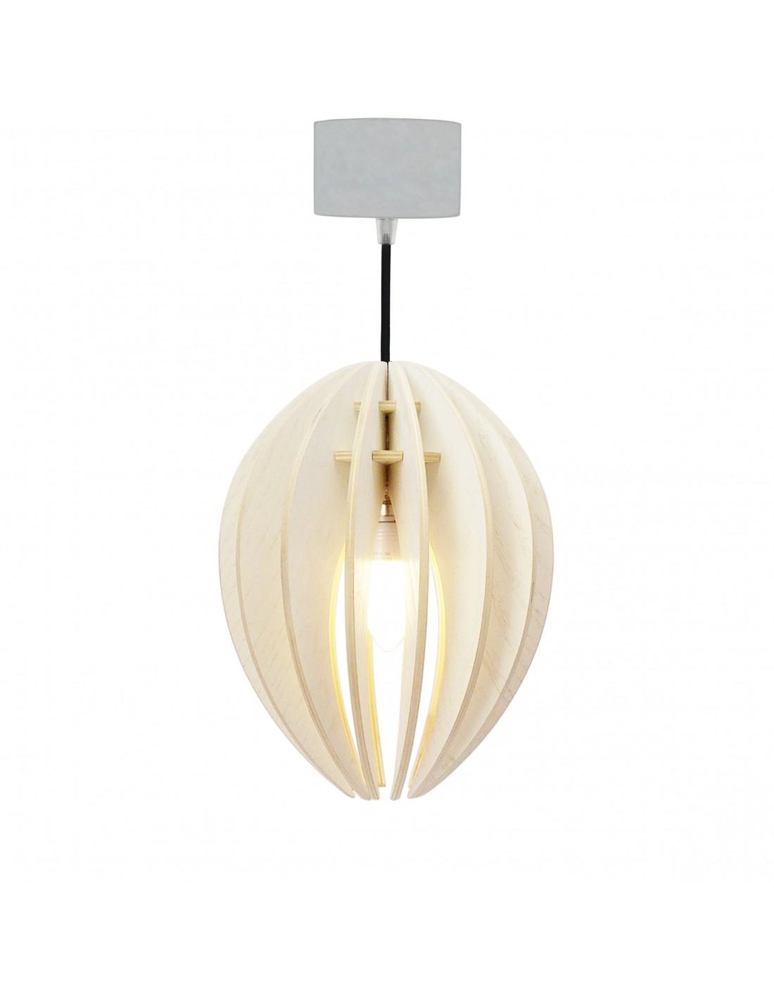 Lampe suspension bois et béton frêne teinté blanc cordon noir