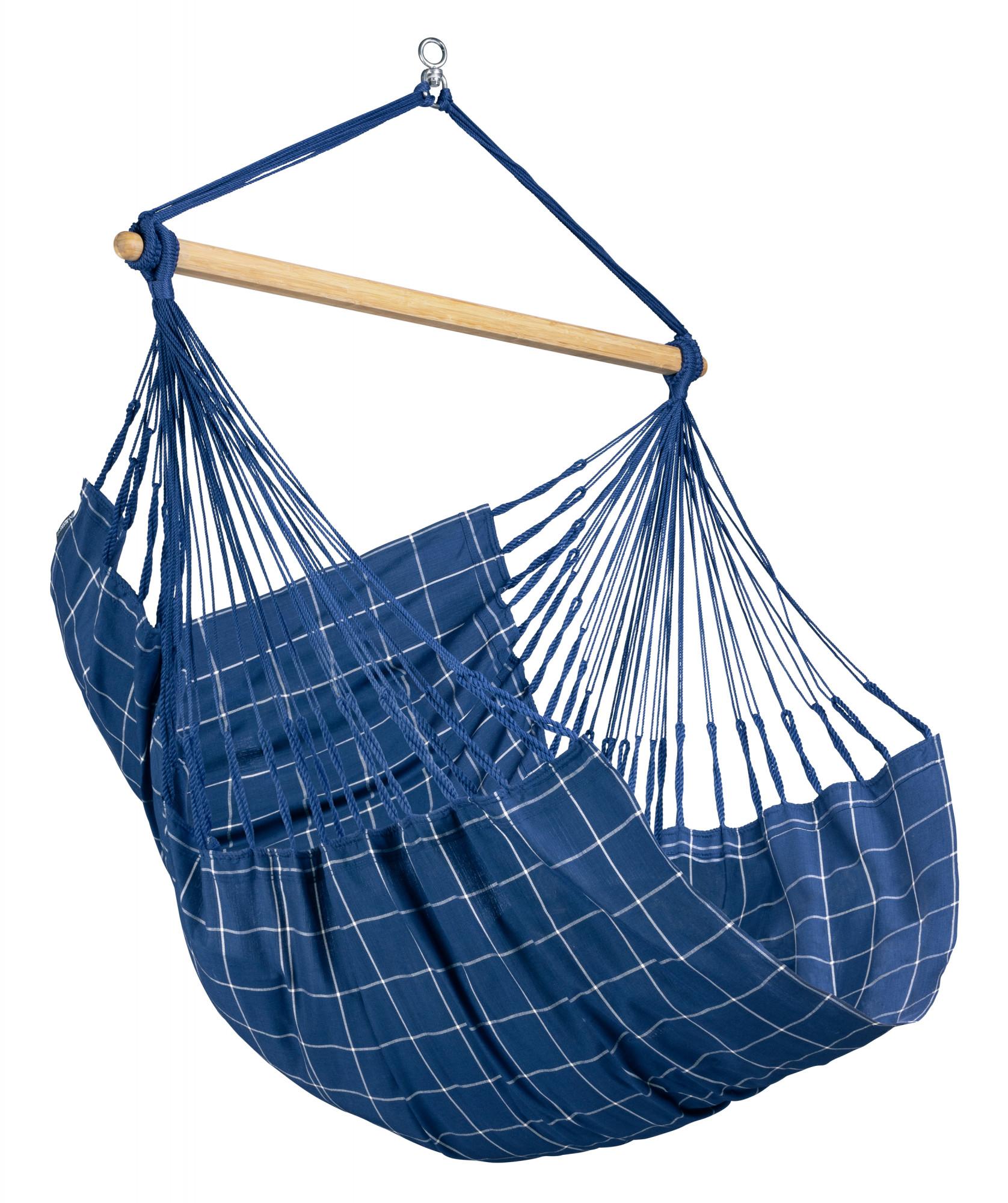 Chaise-hamac comfort en tissu bleu marine