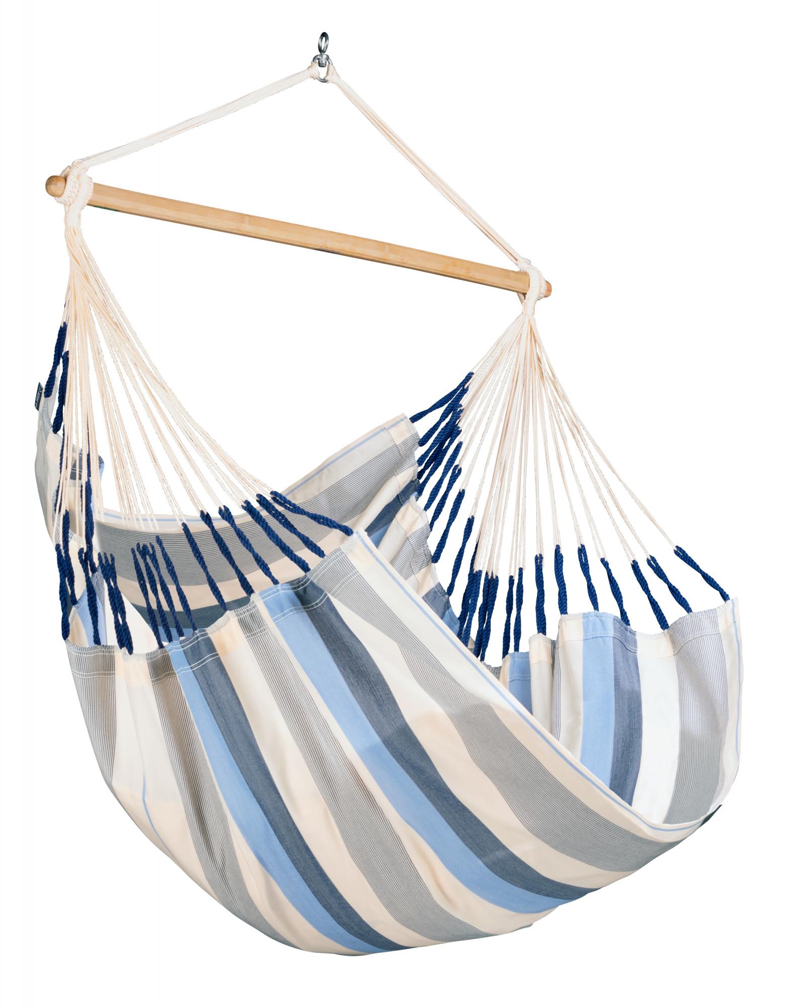 Chaise-hamac comfort en tissu bleu clair