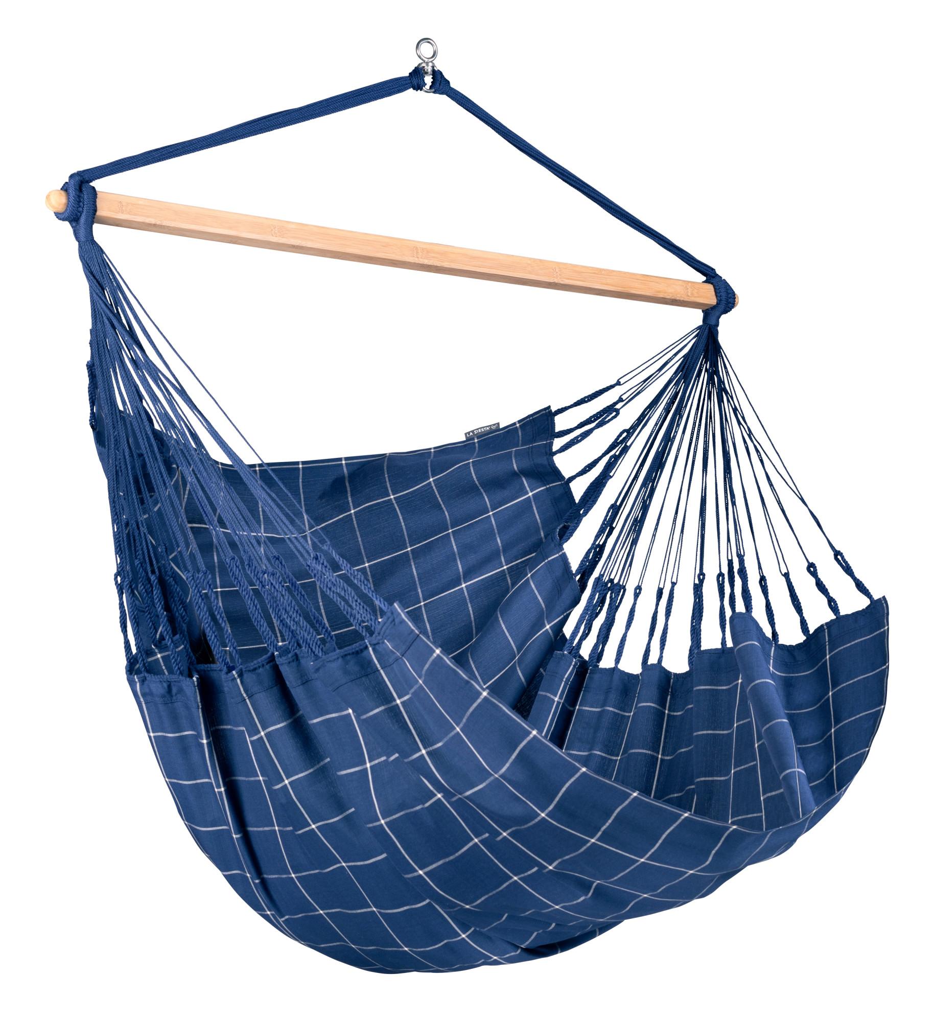 Chaise-hamac kingsize en tissu bleu marine
