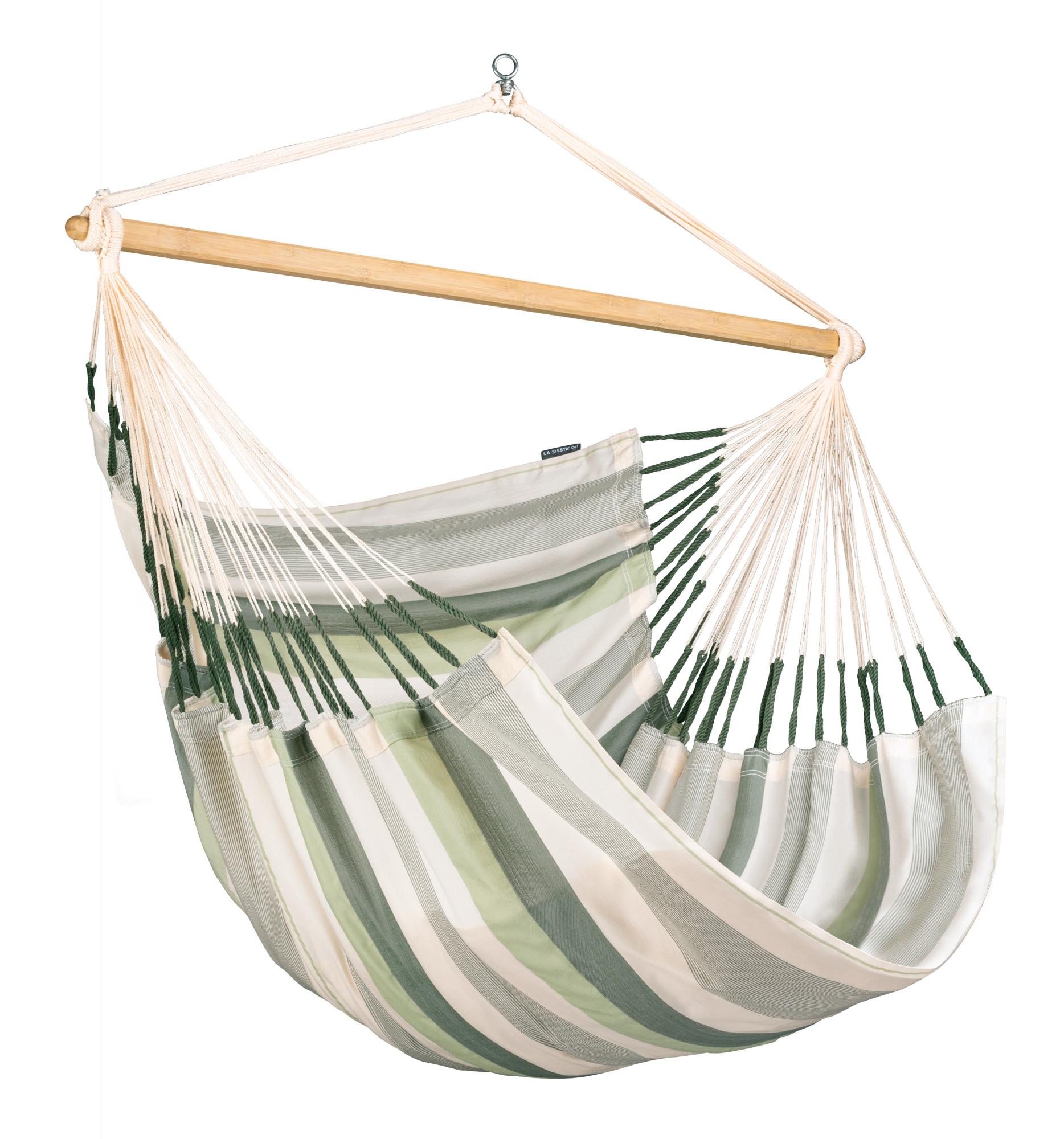 Chaise-hamac kingsize en tissu vert clair