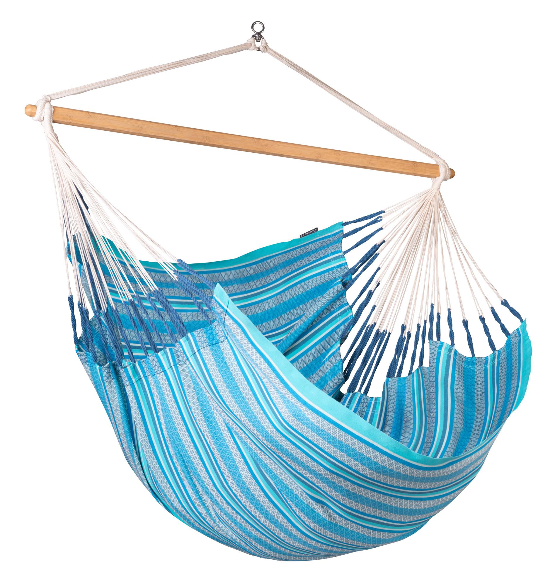 Chaise-hamac kingsize en coton bio bleu