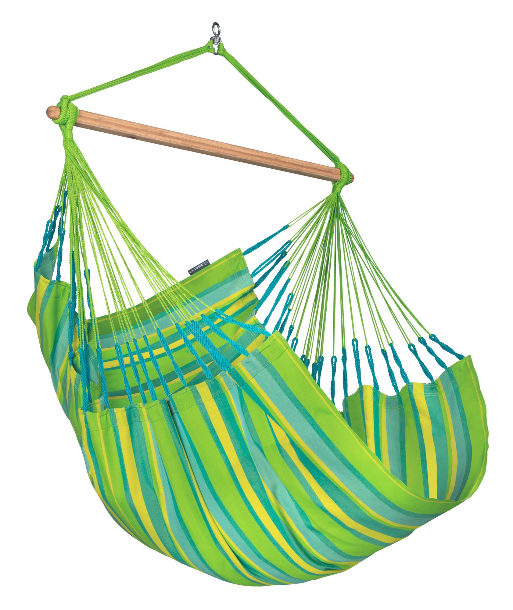 Chaise-hamac comfort en tissu vert citron
