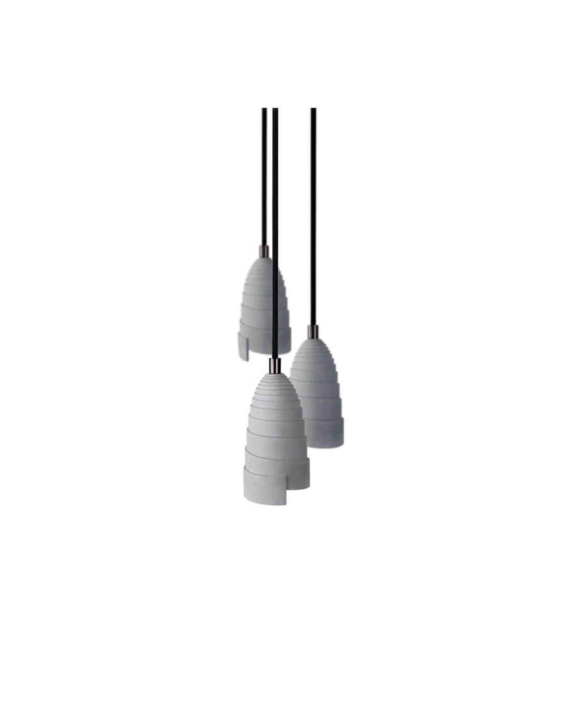 Lampe suspension en béton accessoires perle noire