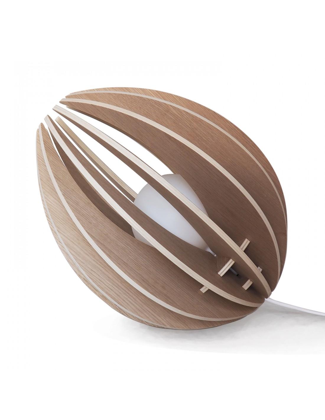 maison du monde Lampe à poser en bois avec fil blanc sans ampoule