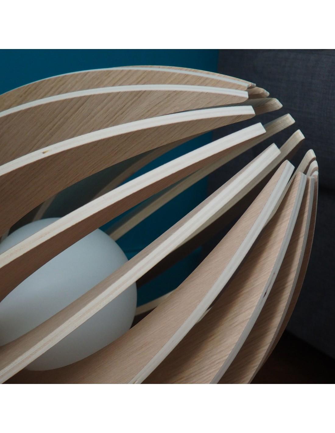 Lampe à poser en bois avec fil blanc sans ampoule