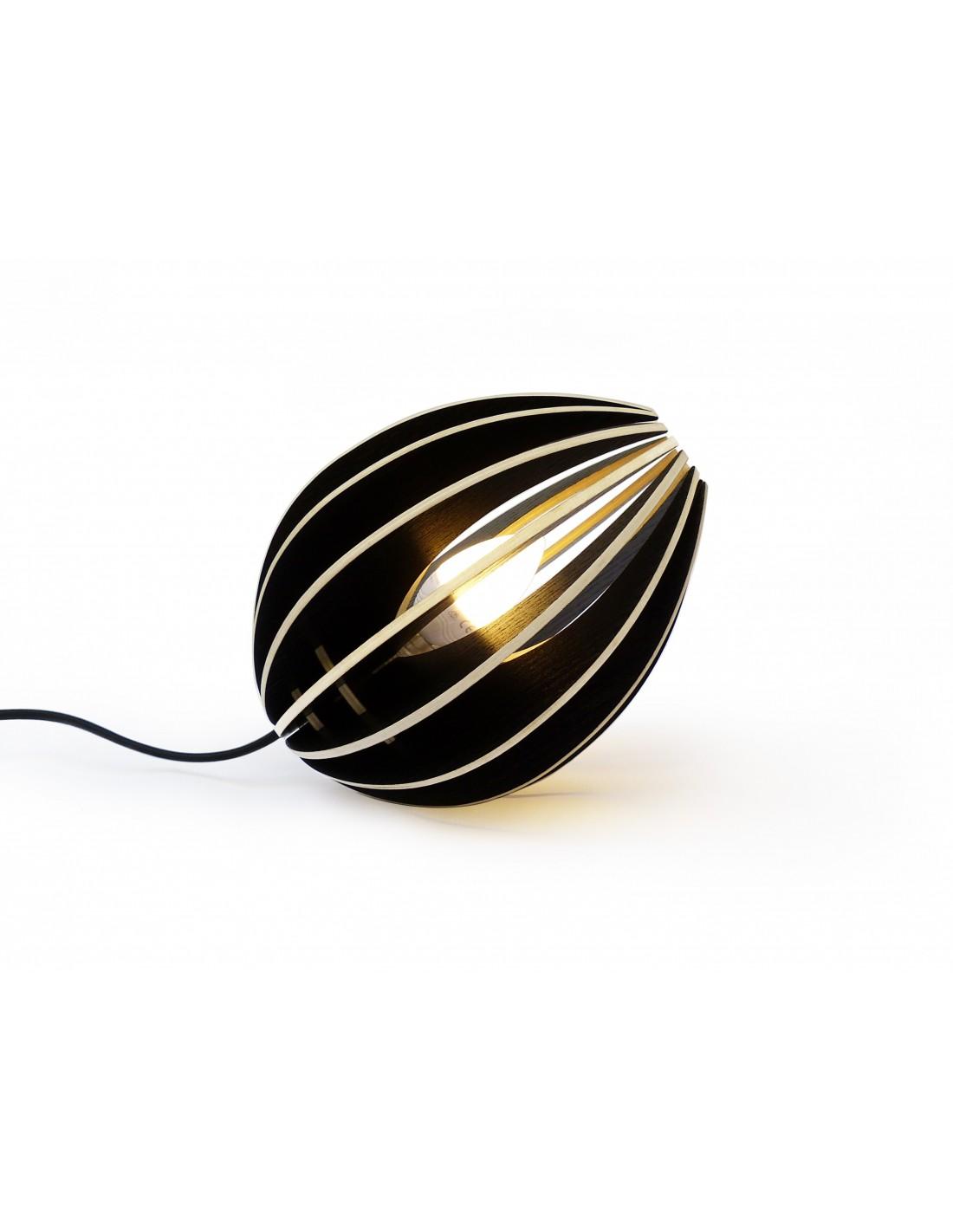 Lampe à poser en bois frêne teinté noir avec fil noir