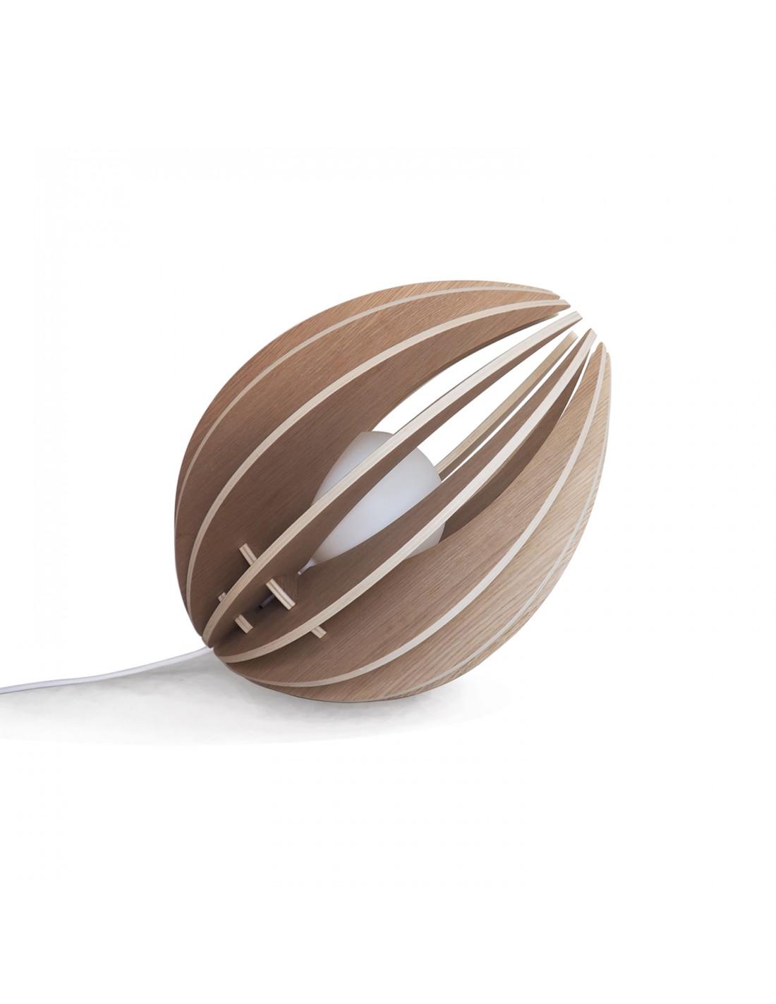Lampe à poser en bois chêne naturel avec fil blanc