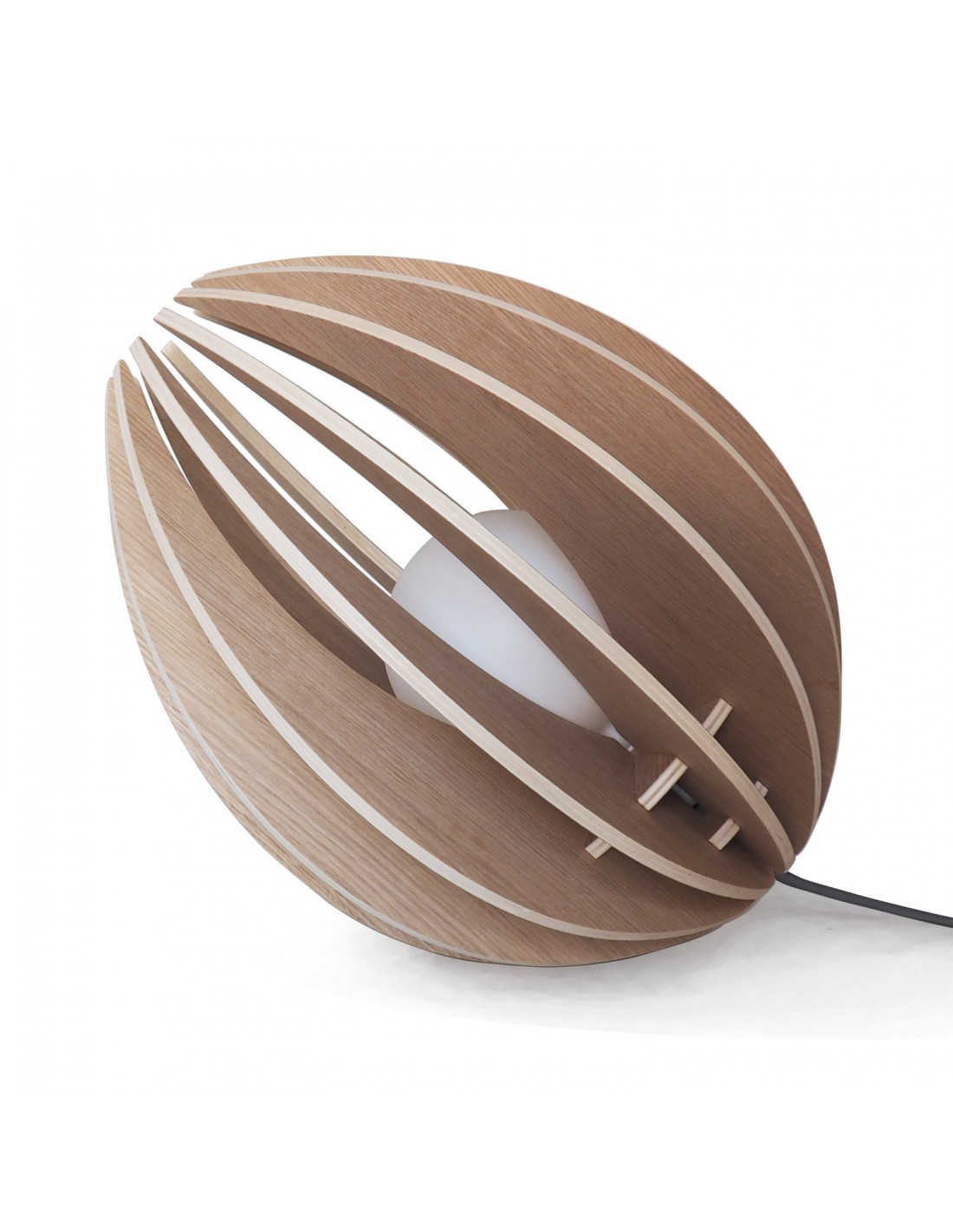 maison du monde Lampe à poser en bois avec fil noir et ampoule