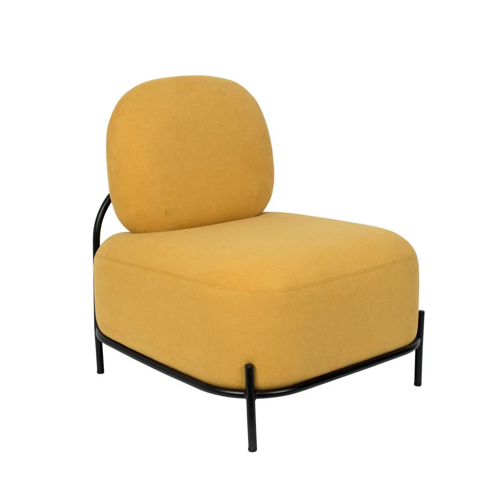 Fauteuil lounge en tissu jaune
