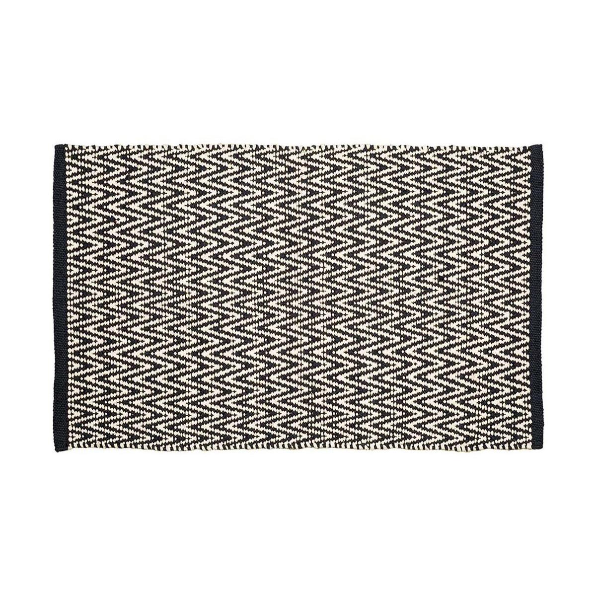 LOZENGA - Tapis d'intérieur 100% coton Noir 140x200