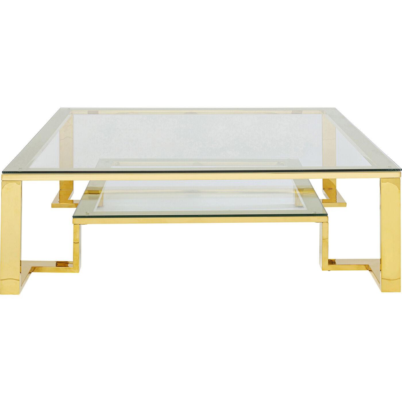 Table basse carrée en acier doré et verre