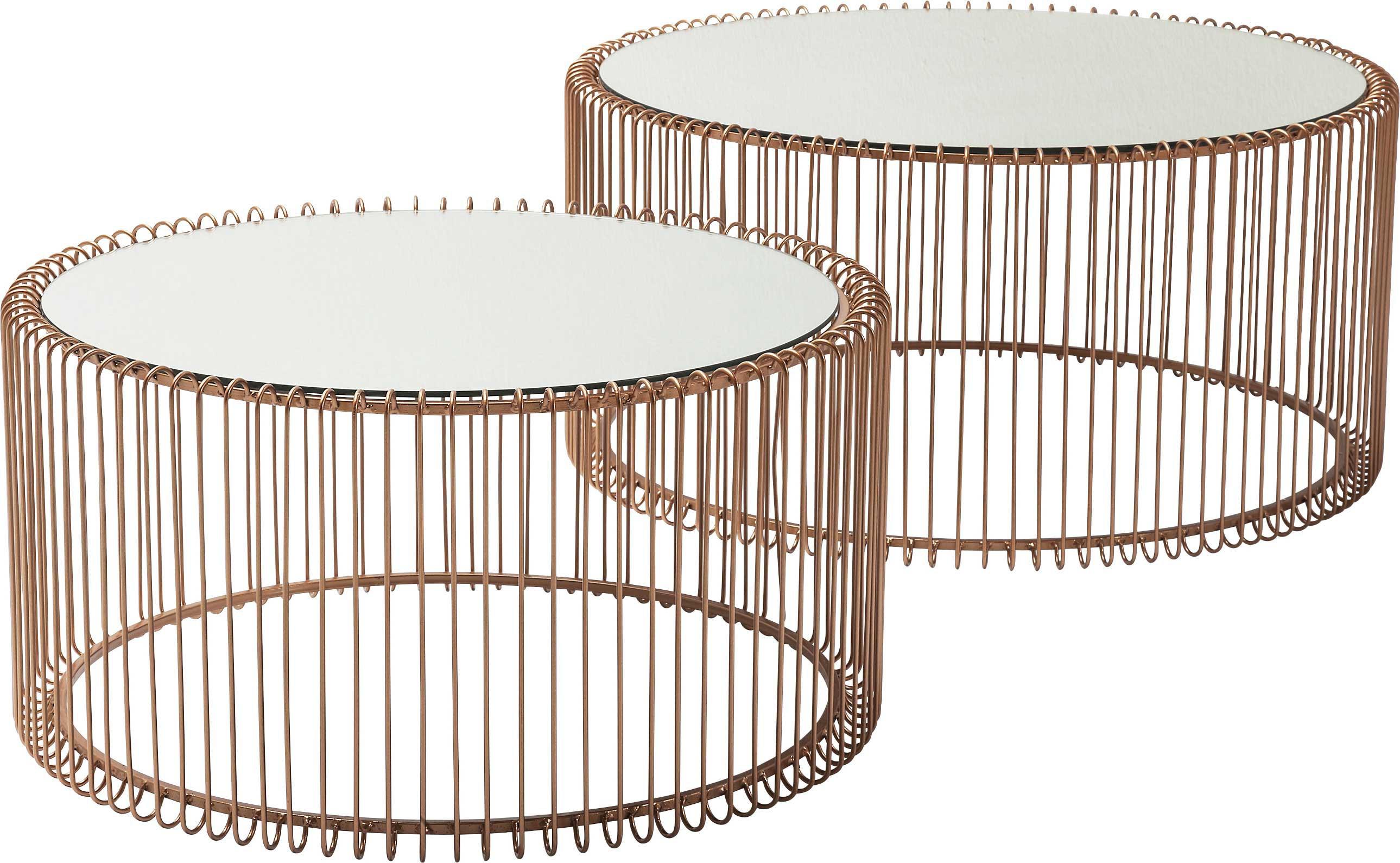 2 tables basses rondes en acier cuivré et verre miroir