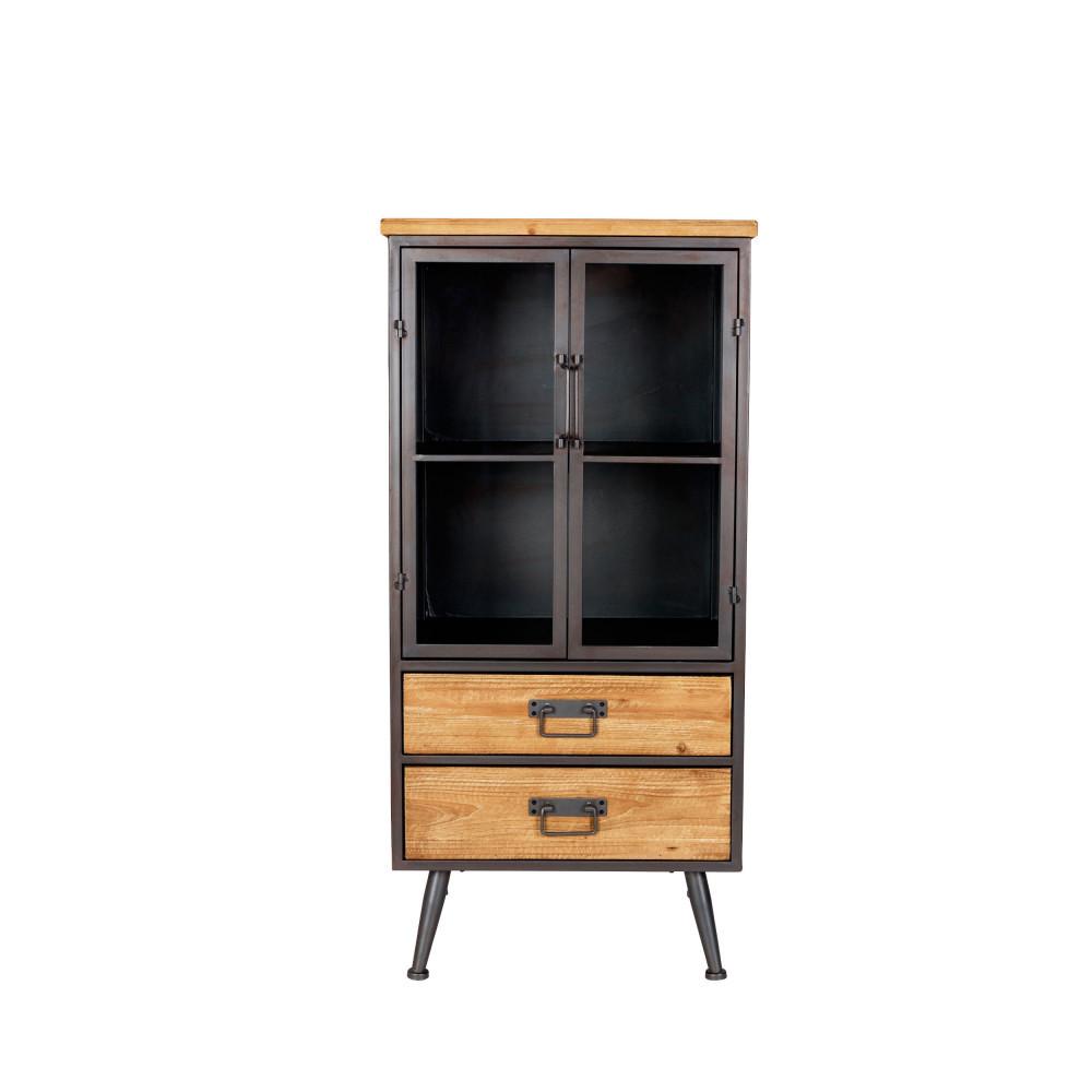 Vitrine vintage bois et métal Low