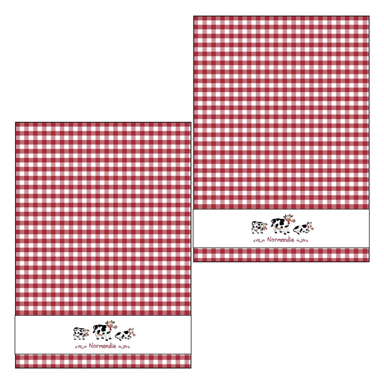 2 torchons tissé teint 3 vaches en coton rouge/blanc 50 x 70