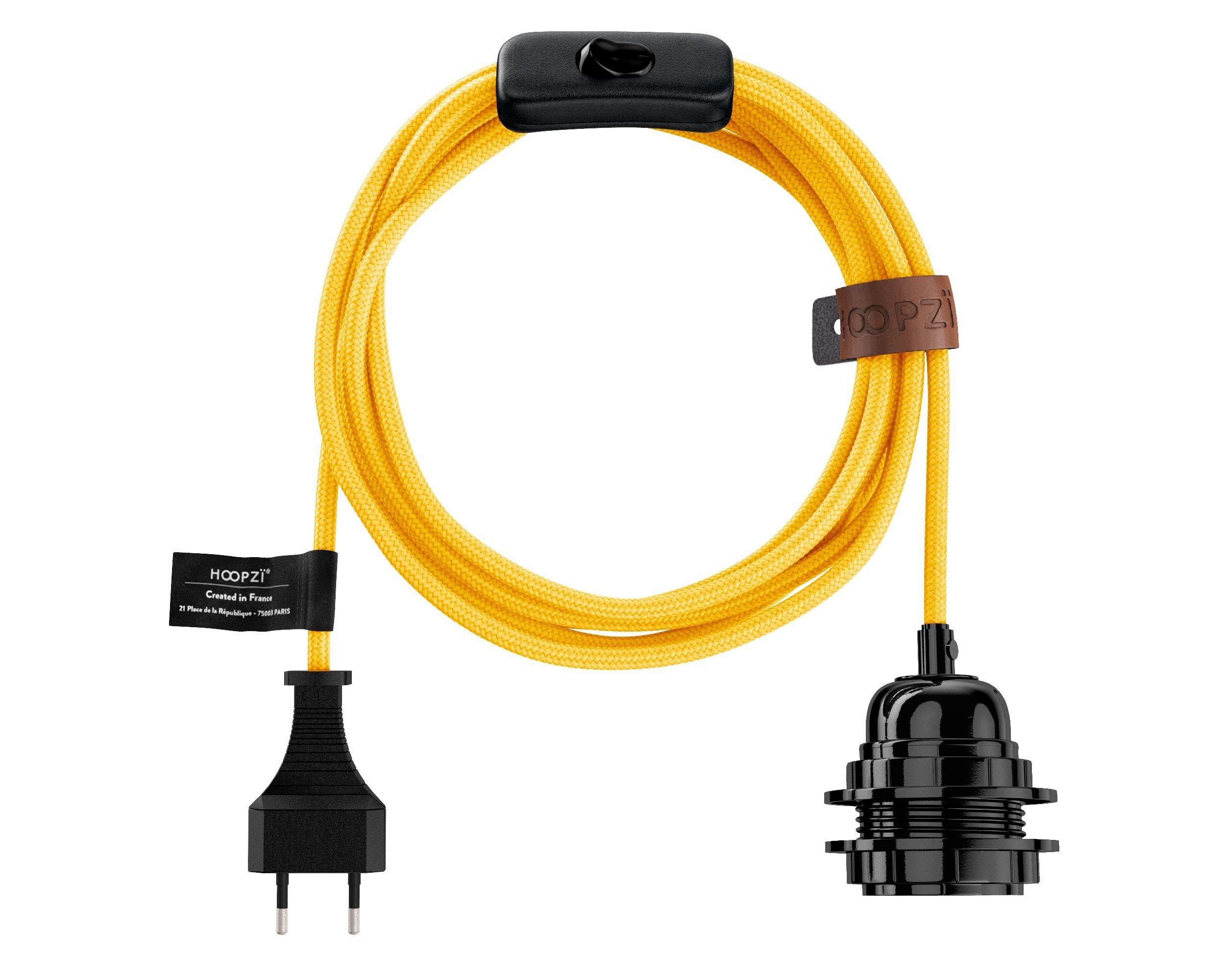 Fil électrique en tissu luminaire jaune 4,5m