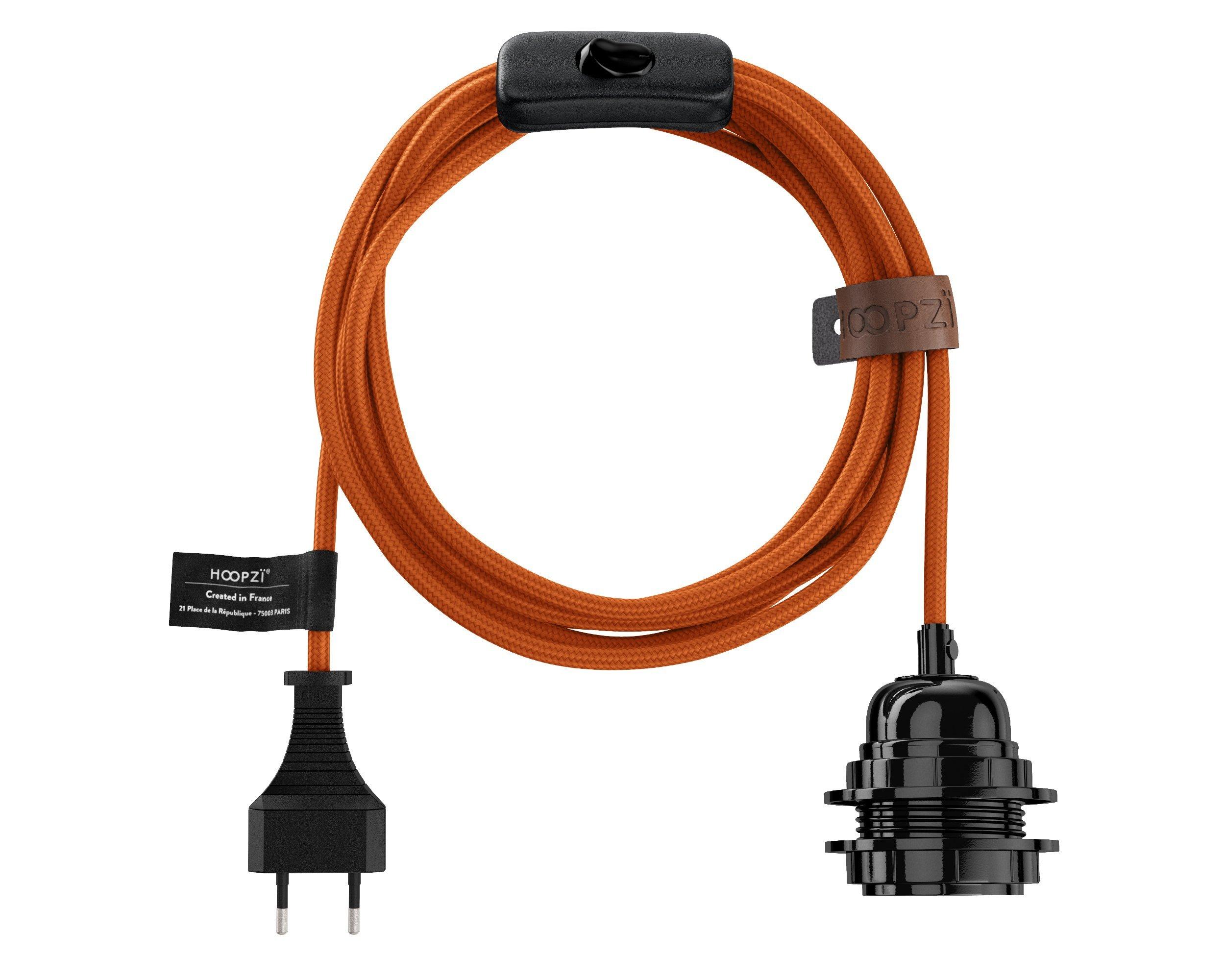 Fil électrique en tissu luminaire orange 4,5m