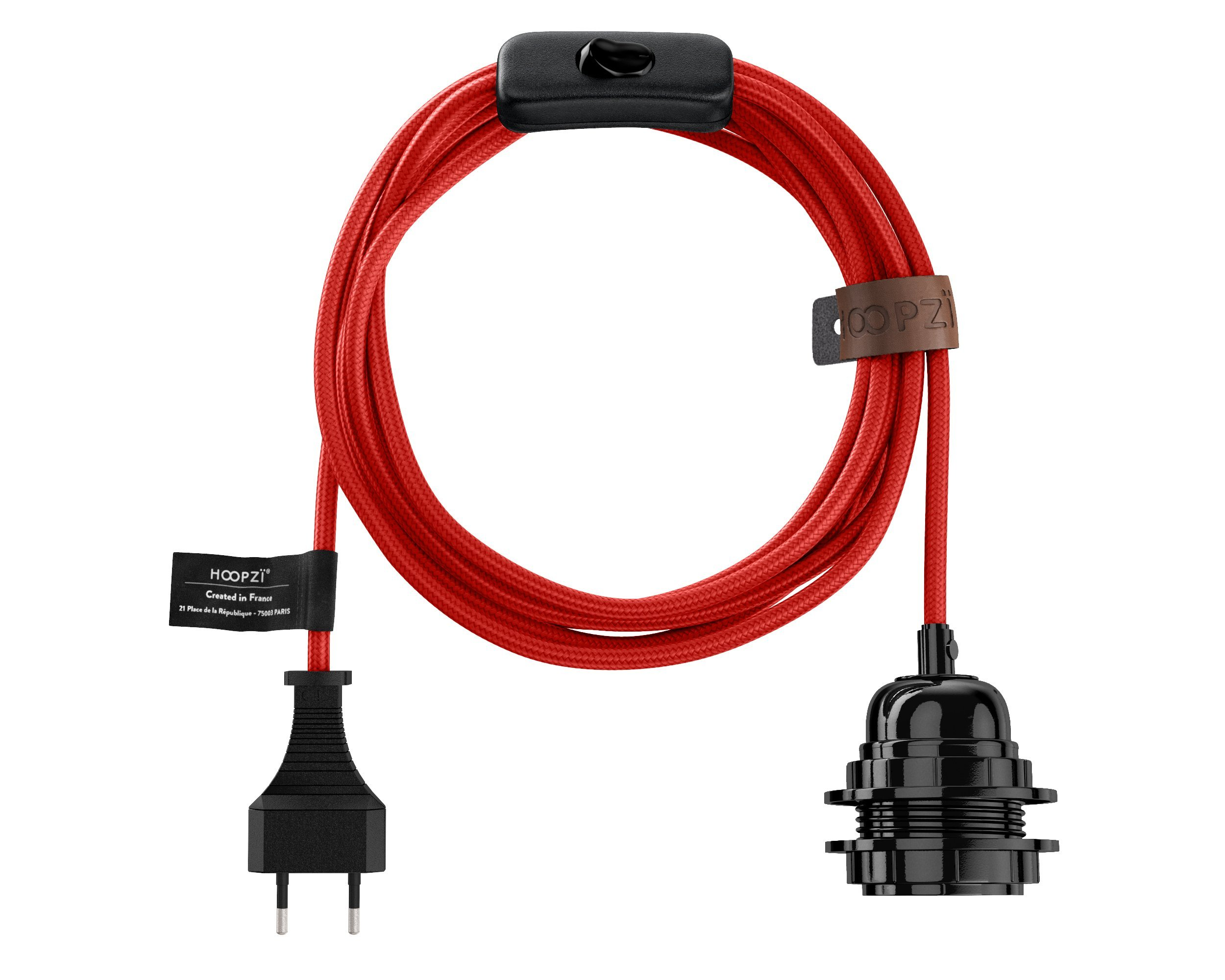 Fil électrique en tissu luminaire rouge 4,5m