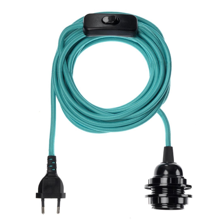 Fil électrique en tissu luminaire turquoise 4,5m