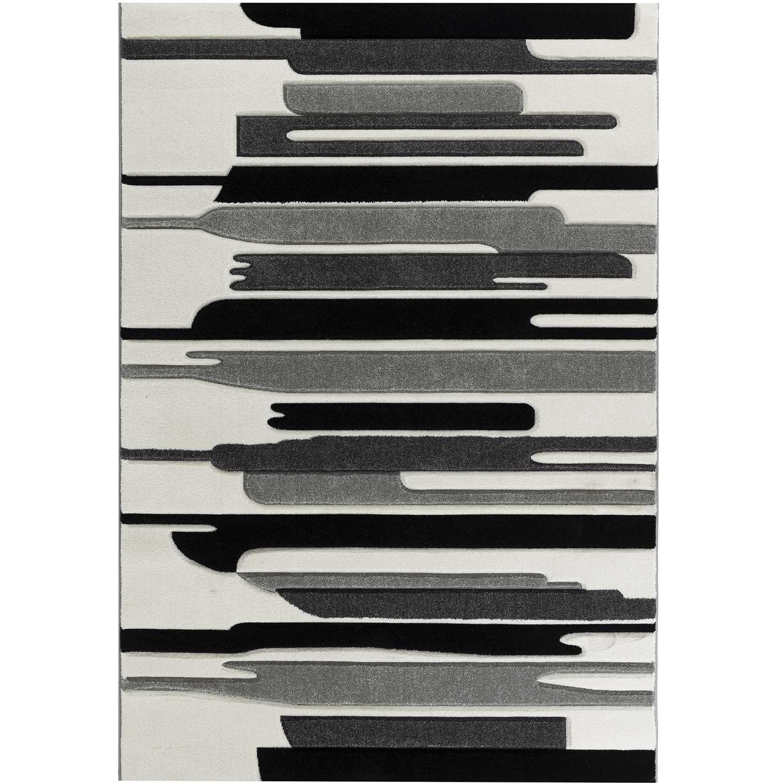 KOSTO - Tapis graphique carving gris 120x160cm