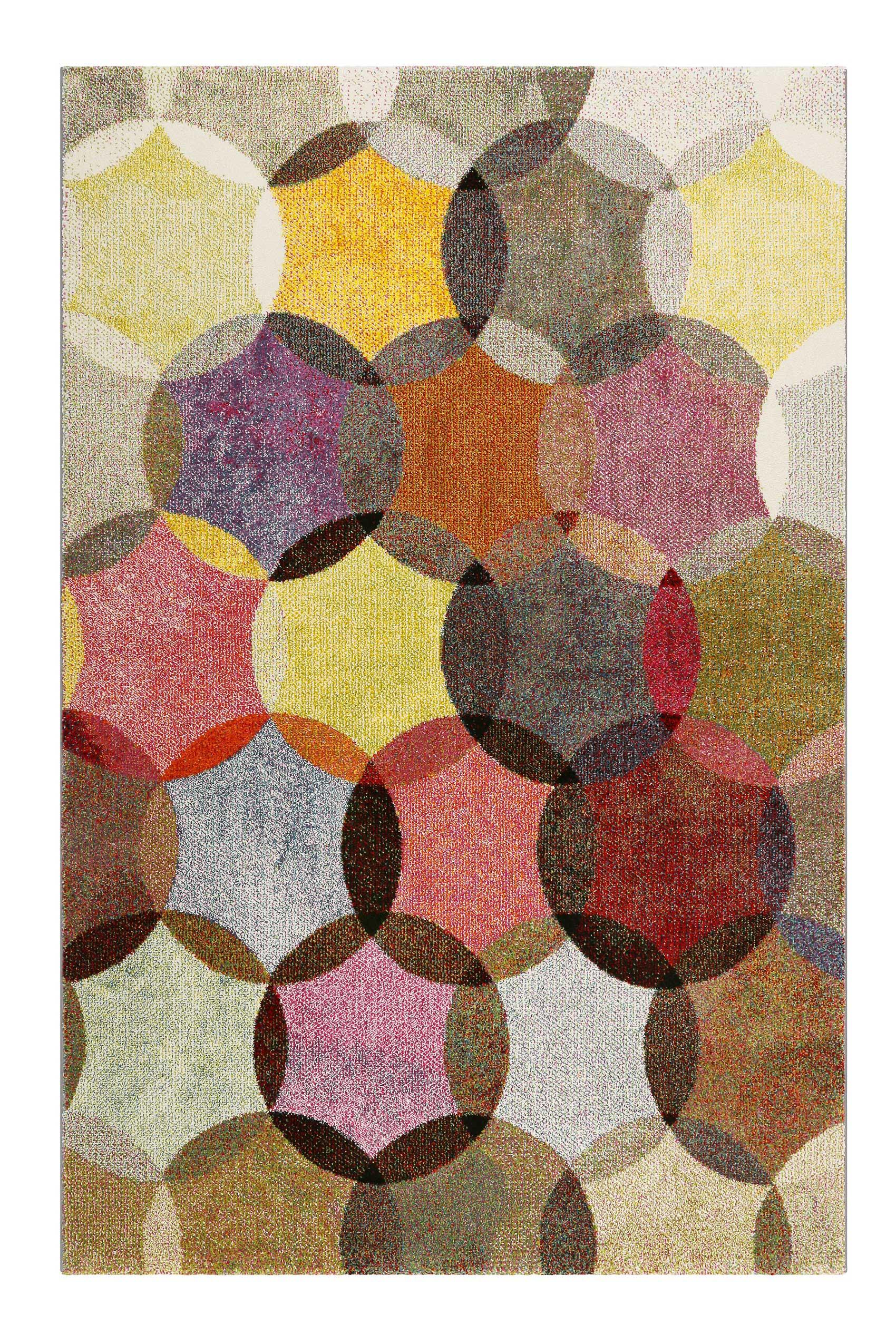 Tapis motif cercles vintage nuances vives pour salon, chambre 225x160