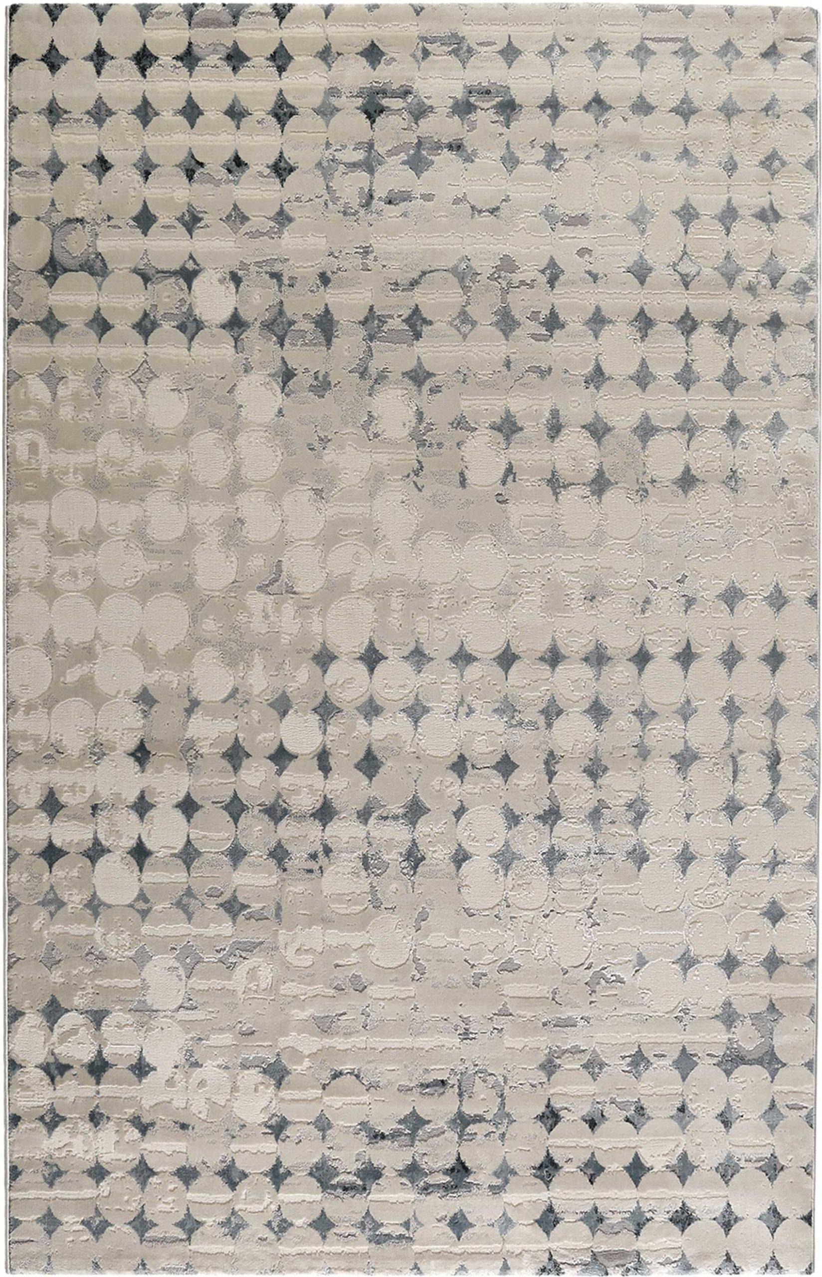 Tapis vintage relief beige/bleu pétrole pour salon, chambre 200x133