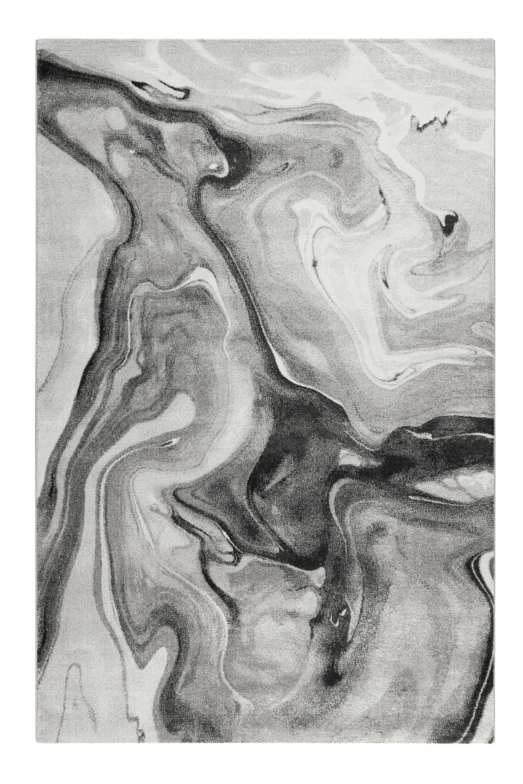 Tapis motif marbre nuances de gris pour salon, chambre 225x160