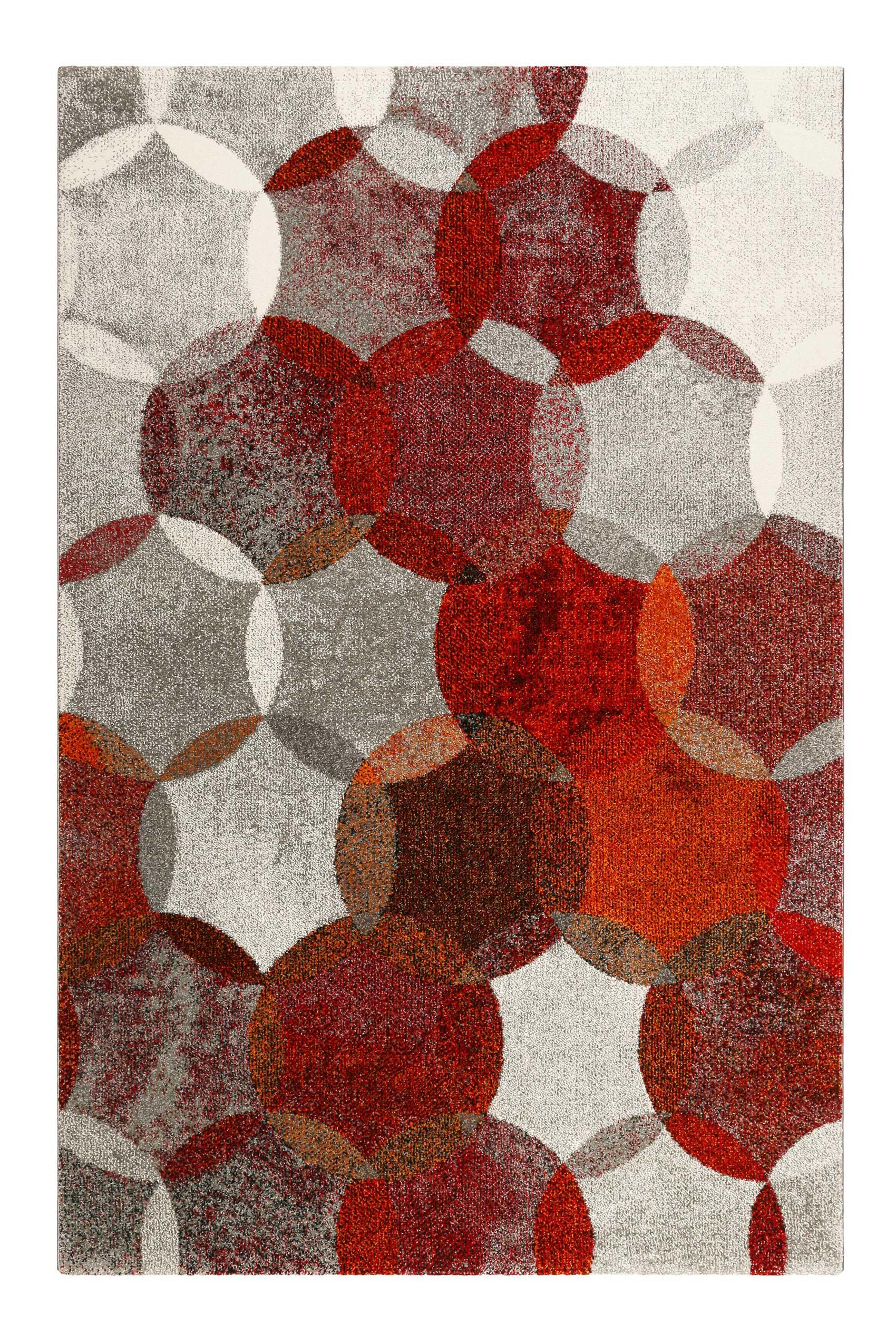 Tapis motif cercles vintage rouge/gris pour salon, chambre 200x133