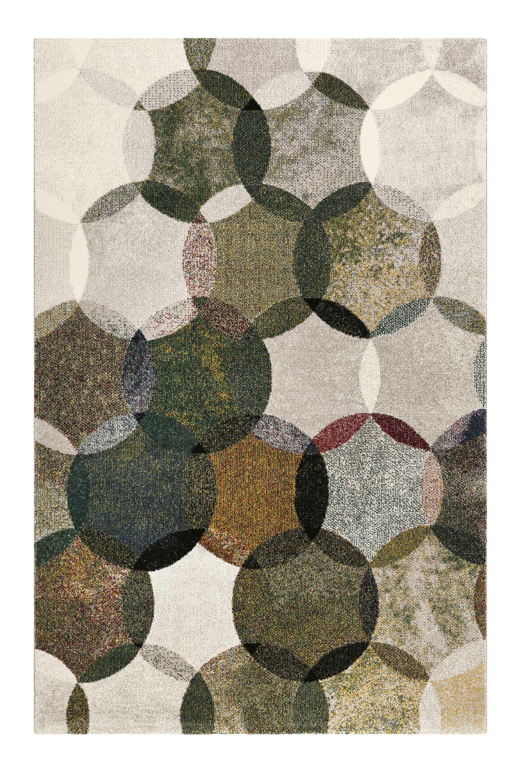 Tapis motif cercles vintage vert/gris pour salon, chambre 225x160