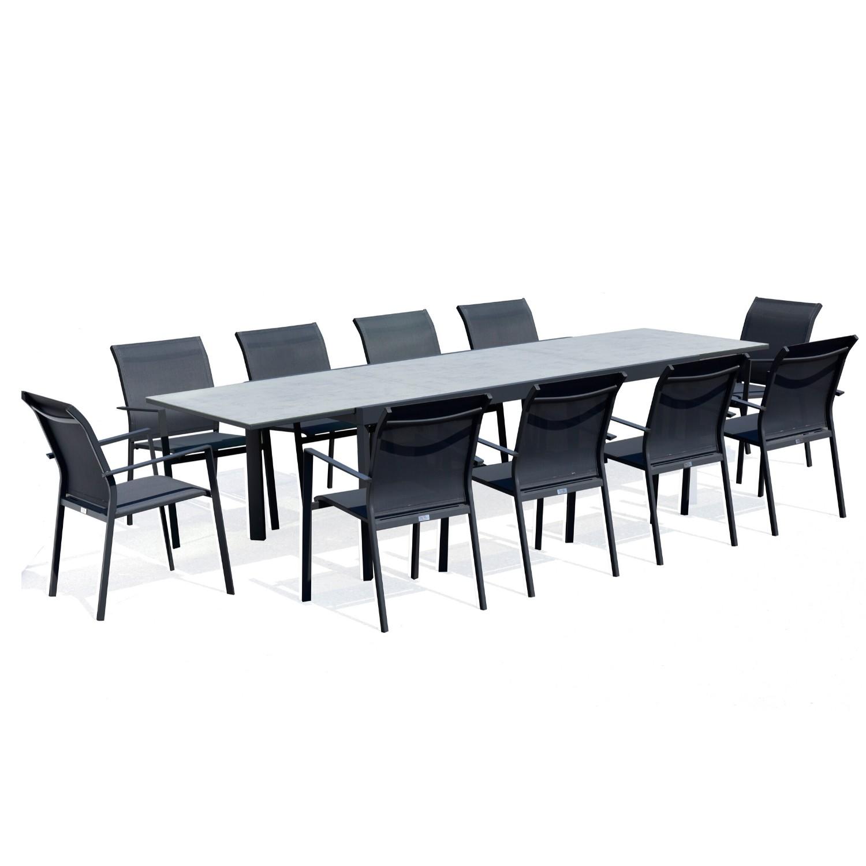 Table de jardin 10 personnes en aluminium et en verre anthracite