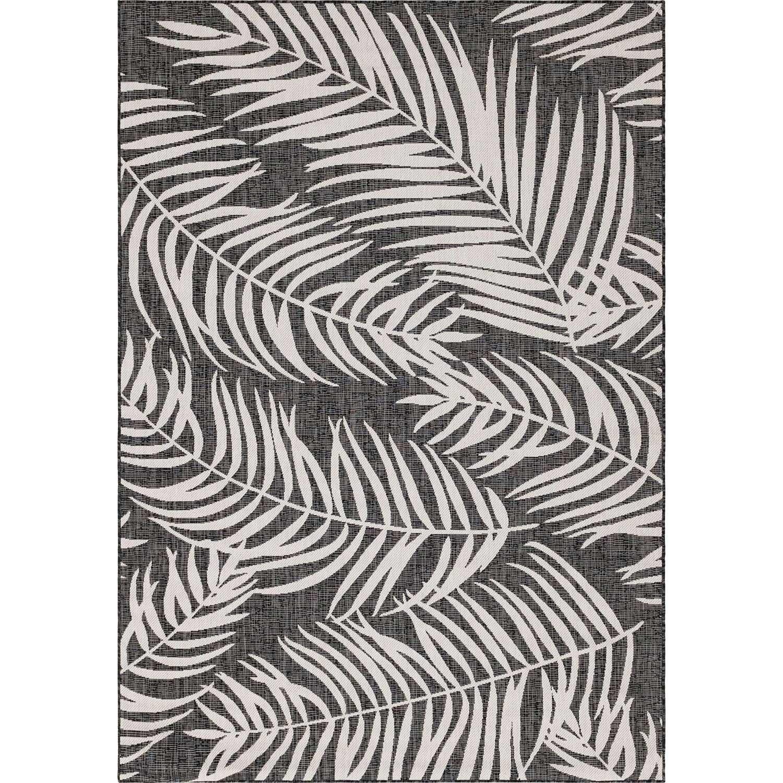 MOA - Tapis extérieur/intérieur graphique noir 70x140cm