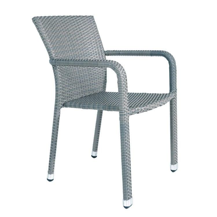 Chaise en résine tressée plate grise