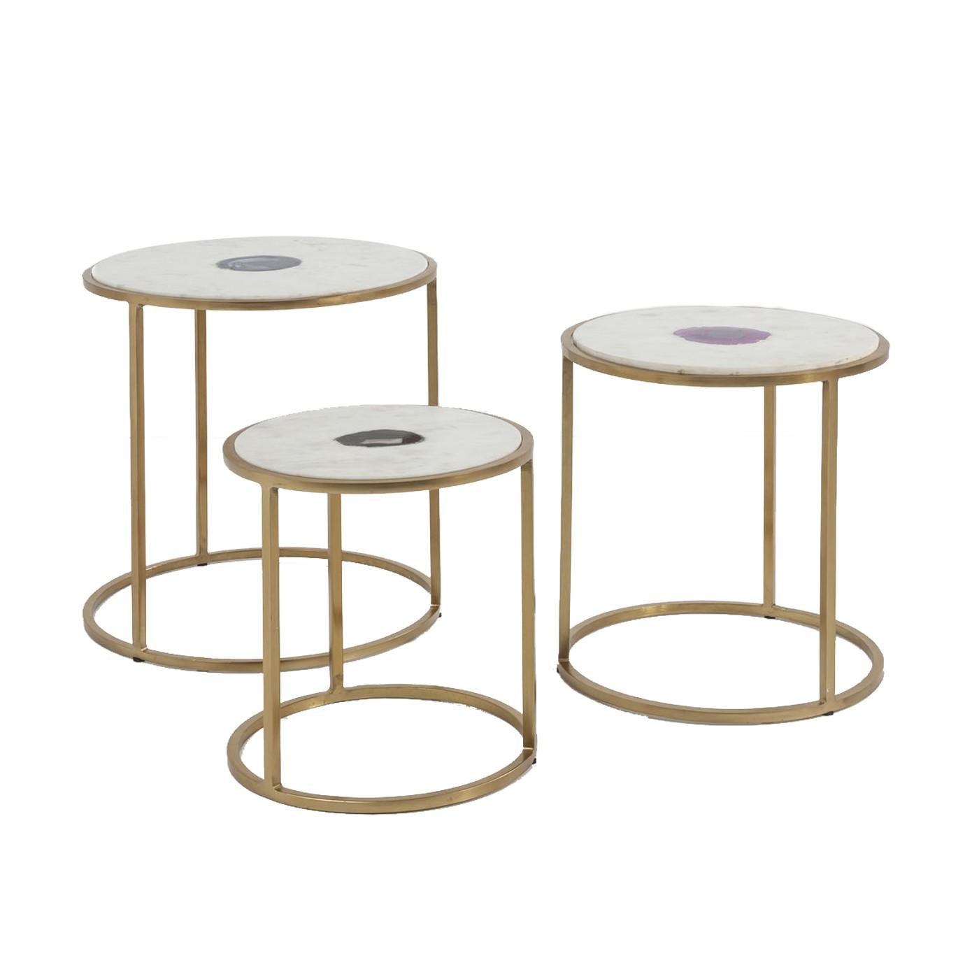 3 tables d'appoint gigognes en acier doré et marbre blanc